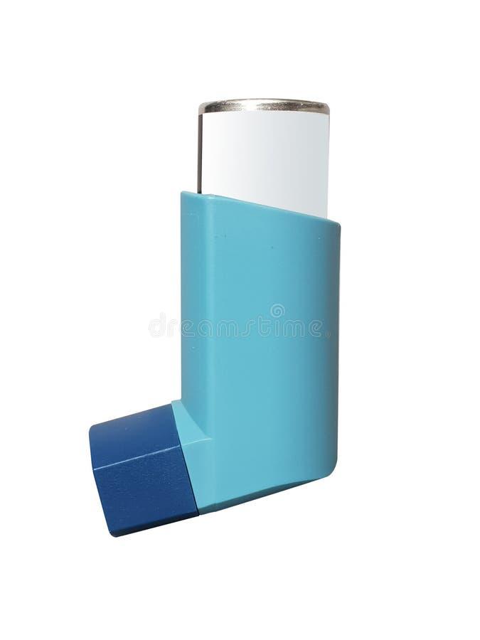 Medicamenta??o azul do inalador da asma isolada no fundo branco fotografia de stock