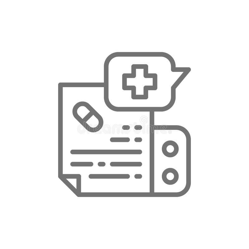 Medicamentação da prescrição, linha de instrução ícone ilustração do vetor