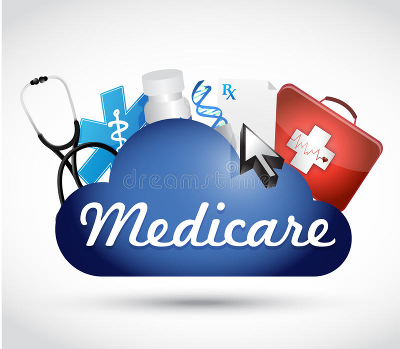 Medicare έννοια σημαδιών τεχνολογίας σύννεφων διανυσματική απεικόνιση