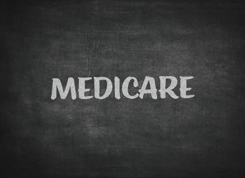 Medicare-Konzeptwort auf einem Tafelhintergrund stockbilder