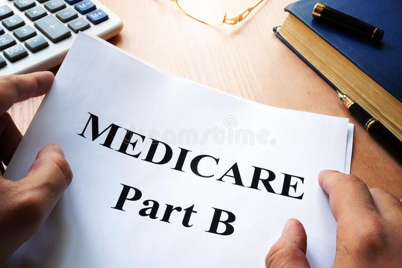 Medicare Part B on a desk. stock image