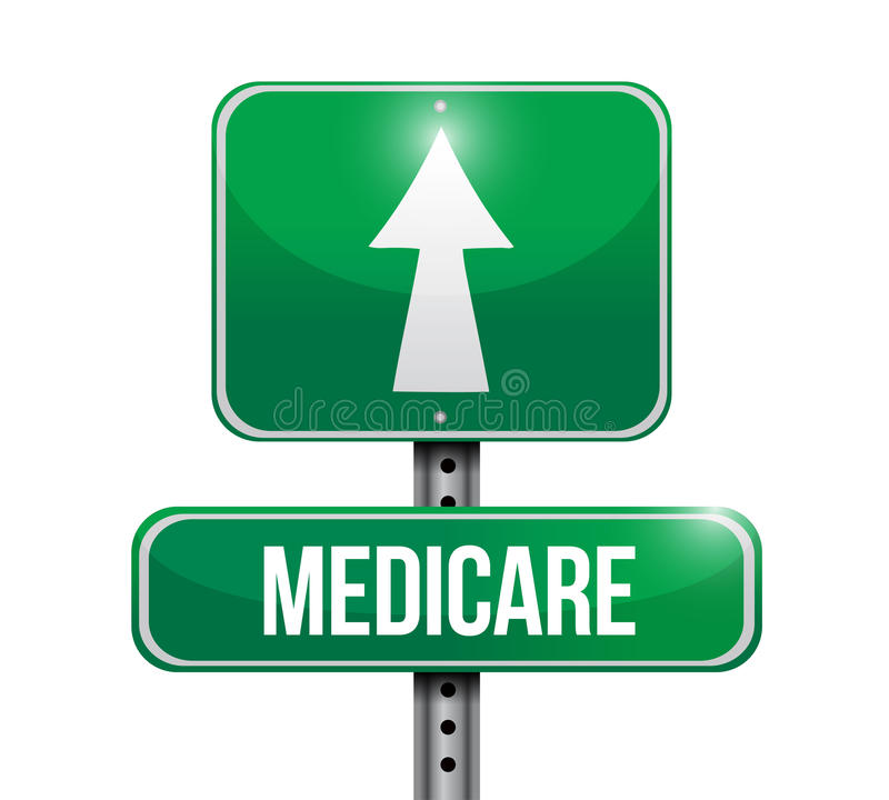 Medicare road sign illustration design. Over white vector illustration