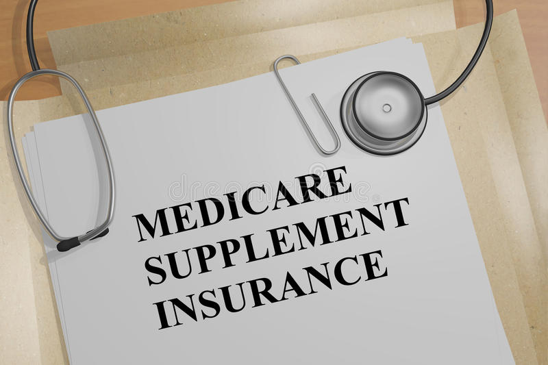 Medicare Supplement Insurance - medical concept. 3D illustration of MEDICARE SUPPLEMENT INSURANCE title on a medical document stock illustration