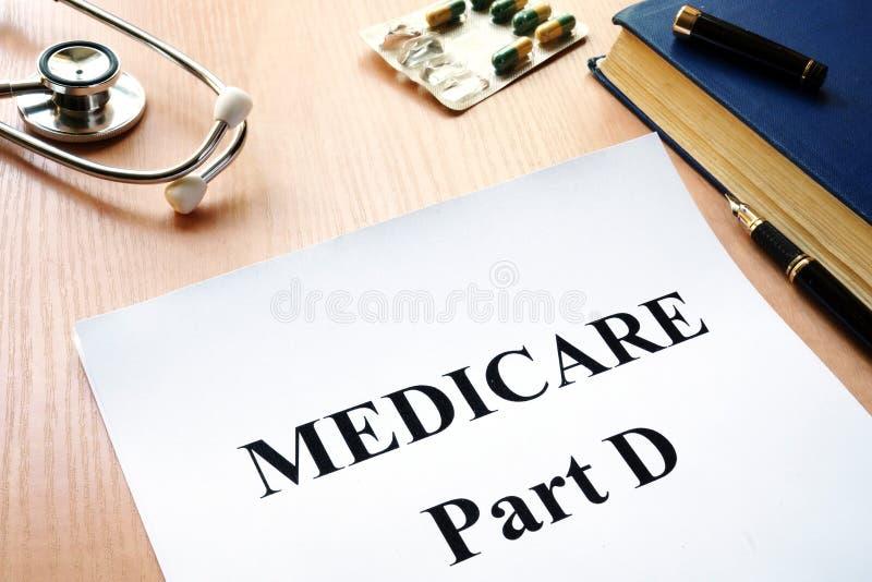 Medicare-Teil D auf einer Tabelle stockbilder