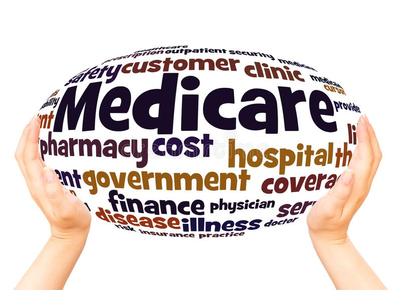 Medicare word cloud hand sphere concept royalty free stock photography