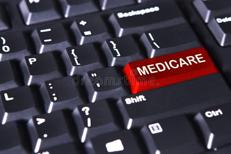 Medicare-Wort auf dem roten Knopf stockbilder