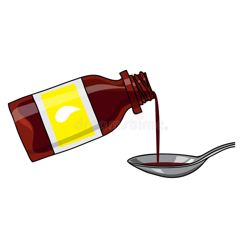 Medicated syrup, cough syrup / brown color bottle with liquid and a spoon. Bottle with label. Cartoon style. Vector medicated syrup, cough syrup / brown color royalty free illustration
