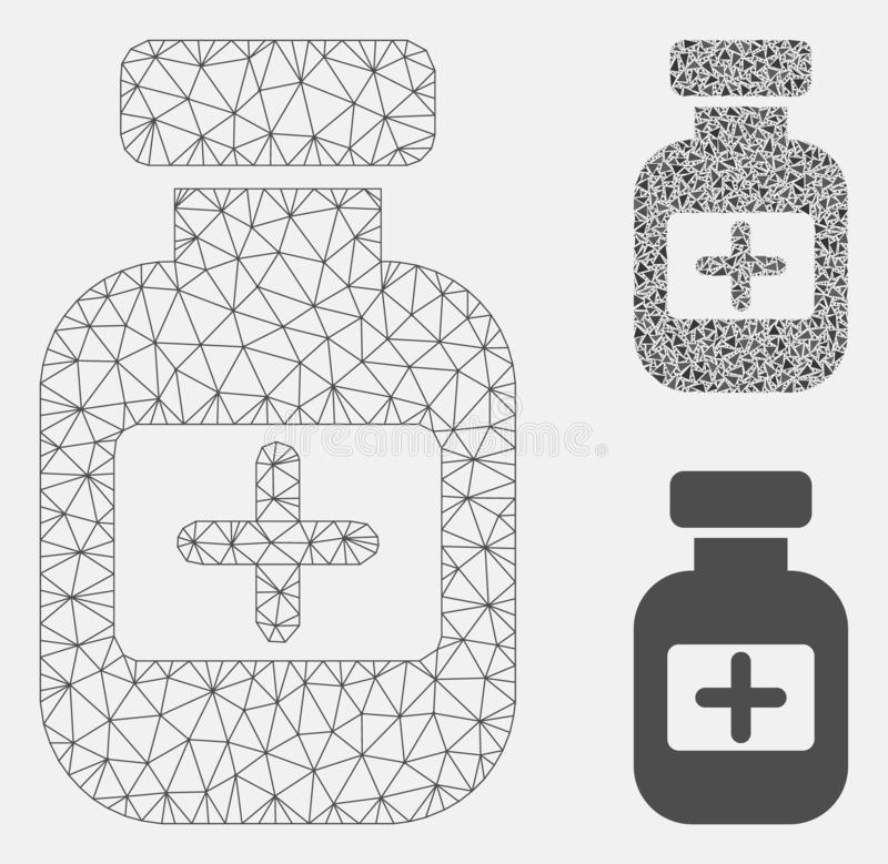 Medication Phial Vector Mesh Carcass Model and Triangle Mosaic Icon. Mesh medication phial model with triangle mosaic icon. Wire carcass polygonal mesh of stock illustration