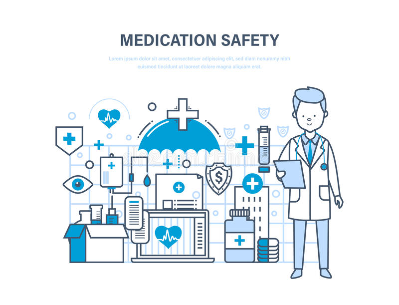 Medication safety. Medical care, healthcare, insurance, protect, guarantee safety patients. Medication safety. Modern medicine and technology, medical care stock illustration