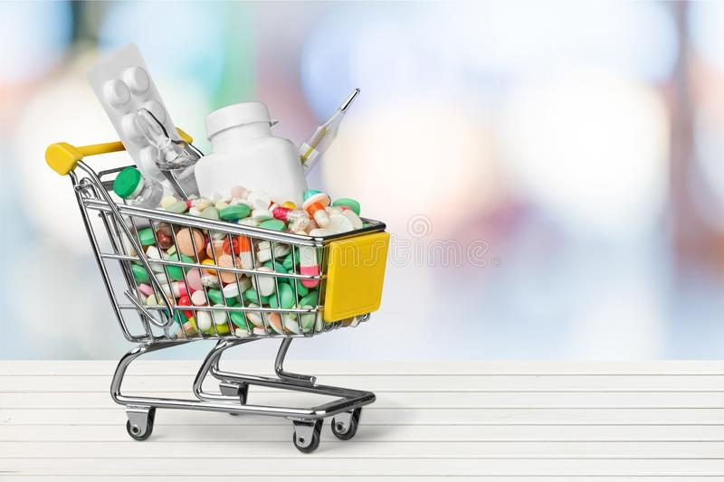 Medication shopping cart stock photo