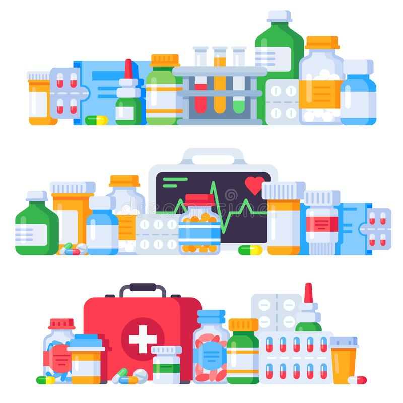 Medications. Medicine pills, pharmaceutical medication bottle and antibiotic pill. Pharmacy drugs isolated vector royalty free illustration