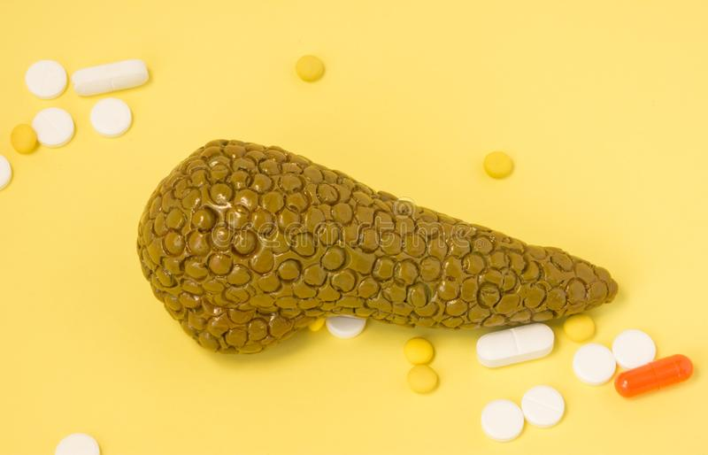 Medications and pancreas. Concept photo of pharmaceutical treatment of diseases associated with pancreas: pancreatitis, diabetes m stock photography
