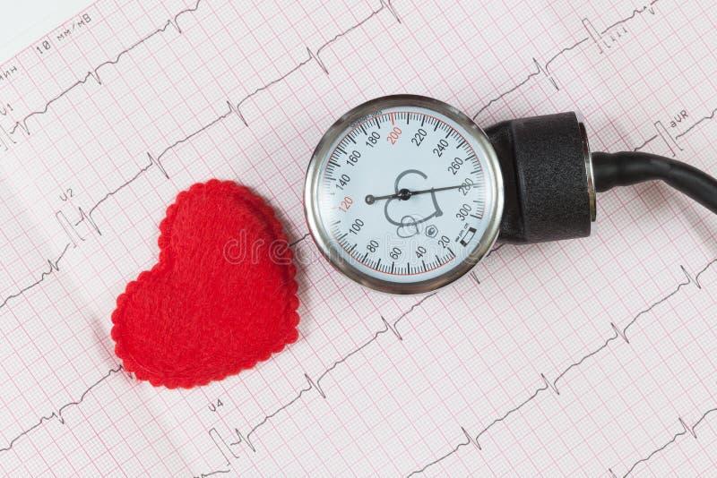 Medición de la presión y símbolo del corazón en un cardiograma foto de archivo