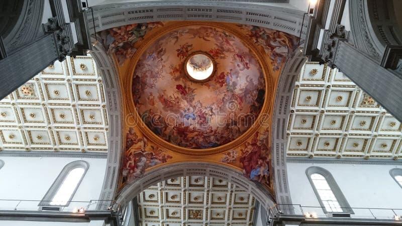 Medici教堂在佛罗伦萨-天花板和圆顶内部细节 免版税库存照片