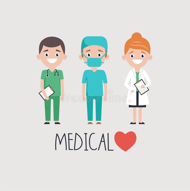 Medici allegri e parola medica royalty illustrazione gratis