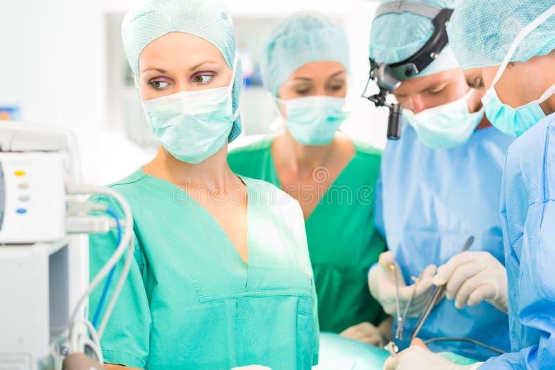 Medici del chirurgo che lavorano teatro in funzione immagine stock libera da diritti