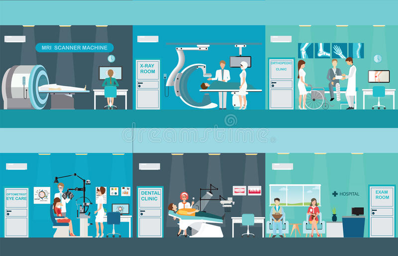 Medici e pazienti in ospedali illustrazione vettoriale