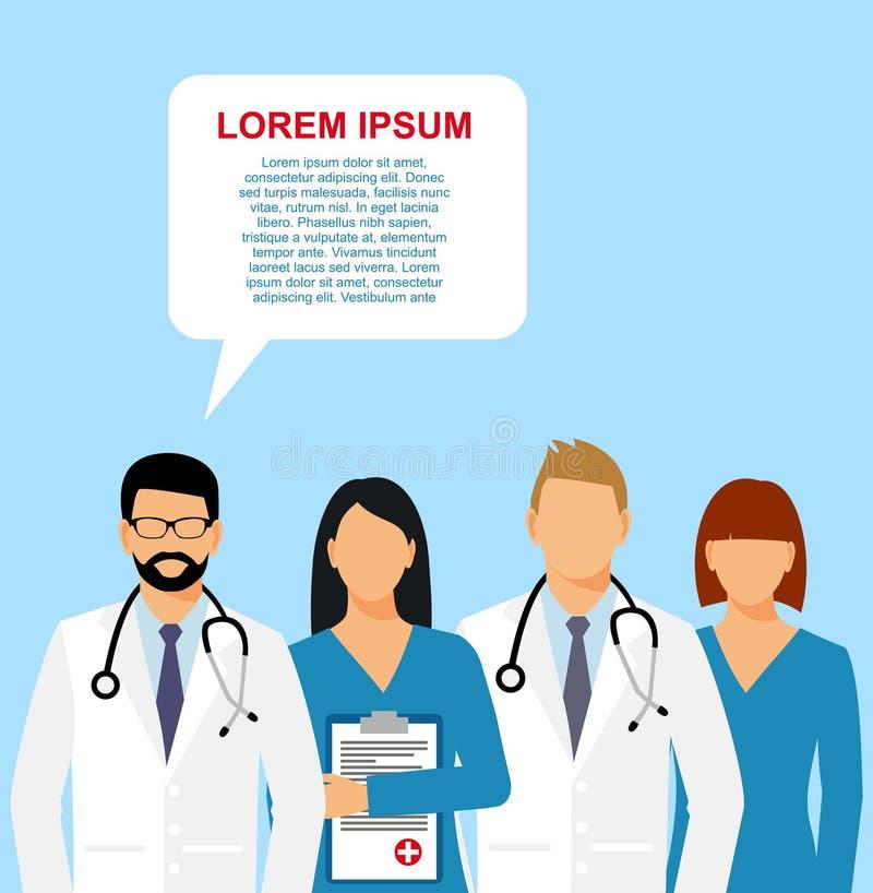Medici ed assistente in una vestaglia con uno stetoscopio medico senza un fronte Illustrazione di vettore royalty illustrazione gratis