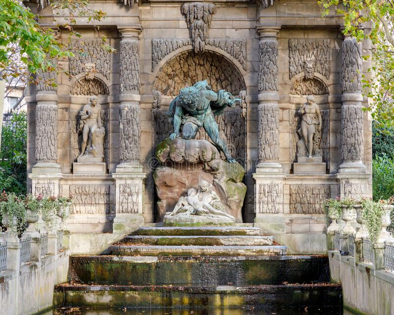 The Medici Fountain in Luxembourg Garden stock images
