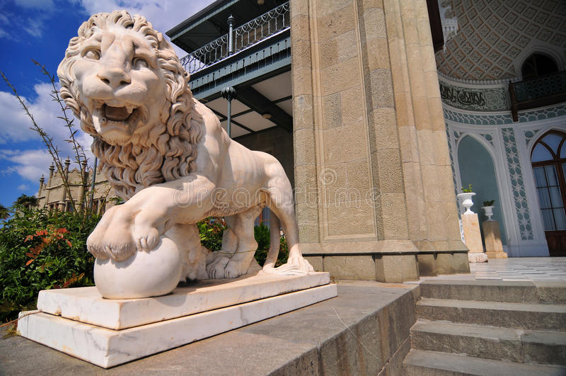 Medici Lion, Vorontsov Palace, Ukraine. Sculpture of the Medici Lion on the southern facade of the Vorontsov Palace, Alupka, Crimea, Ukraine stock photography