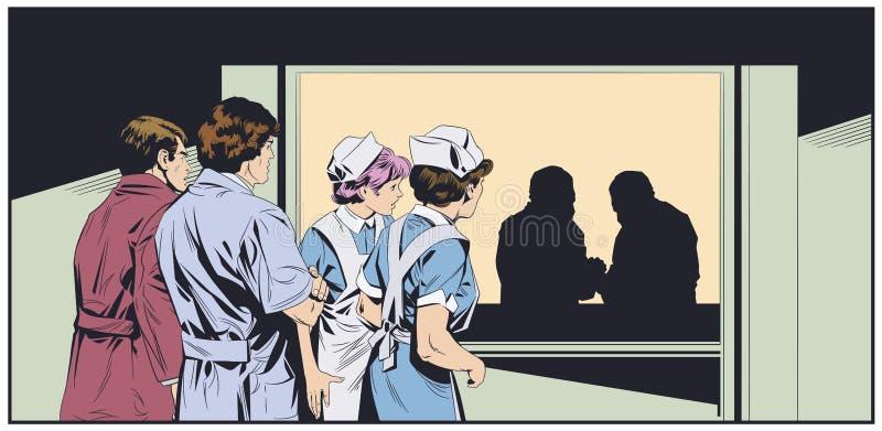 Medici in maschere chirurgiche Corridoi dell'ospedale Illustrazione di riserva royalty illustrazione gratis