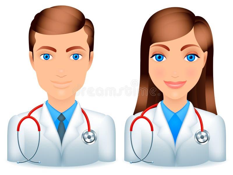 Medici maschii e femminili. illustrazione vettoriale