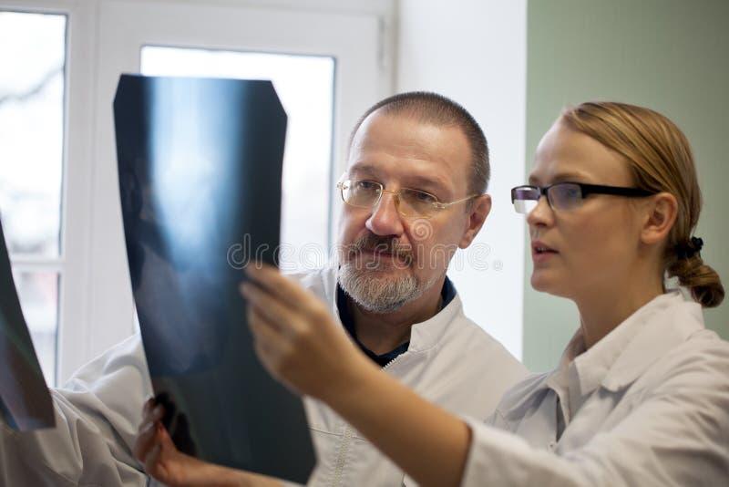 Medici senior e giovani che esaminano le immagini dei raggi x immagine stock libera da diritti