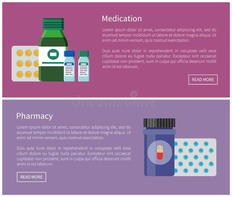 Medicijn en Apotheek de Banners van Internet Promo stock illustratie