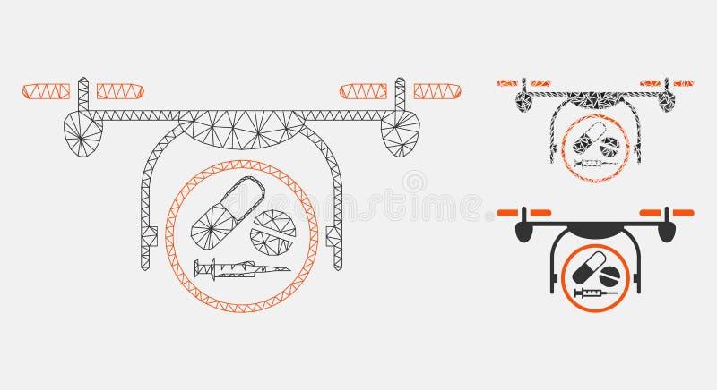 Medicijn Quadcopter Vector het Mozaïekpictogram van Mesh Wire Frame Model en van de Driehoek vector illustratie