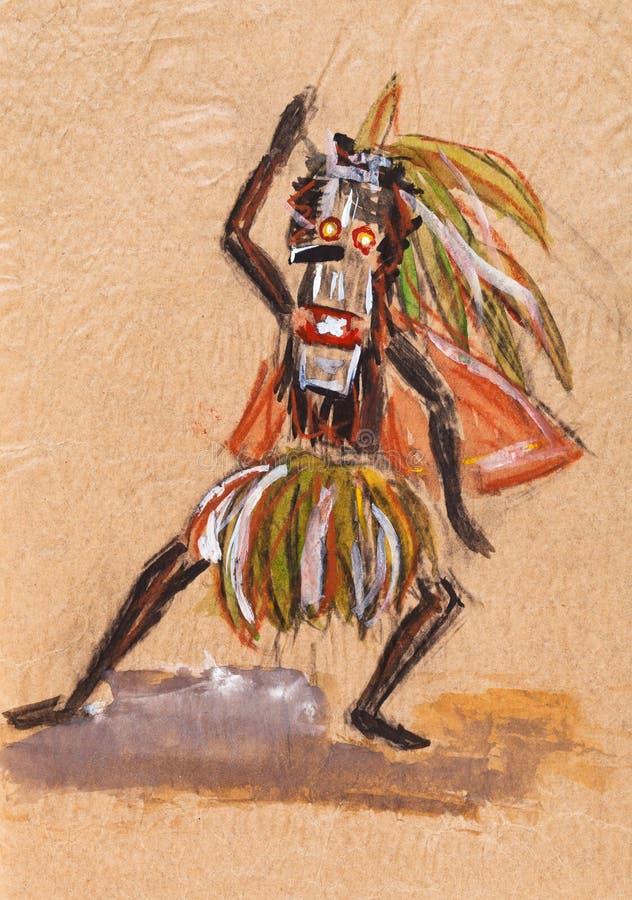 Medicijnman in ritueel masker royalty-vrije illustratie