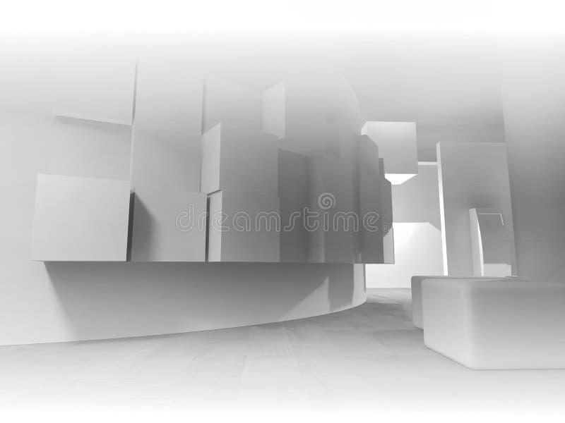 medicin öppet utrymme, rent rum med former i 3d, affärsbrunnsort royaltyfri illustrationer