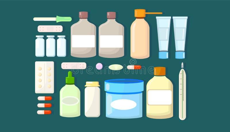 Medicin apotek stor upps?ttning av droger Duva som symbol av f?r?lskelse, pease arkivbild