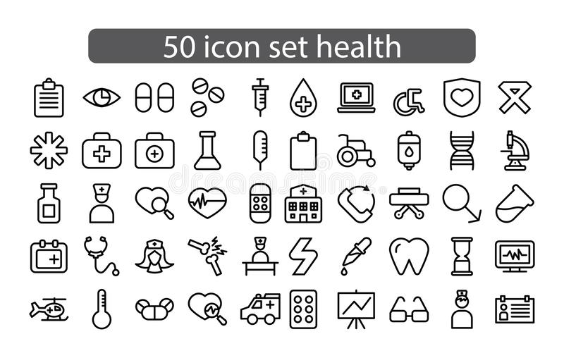 Medicin för fastställd design för symbol och hälsovektor royaltyfri foto