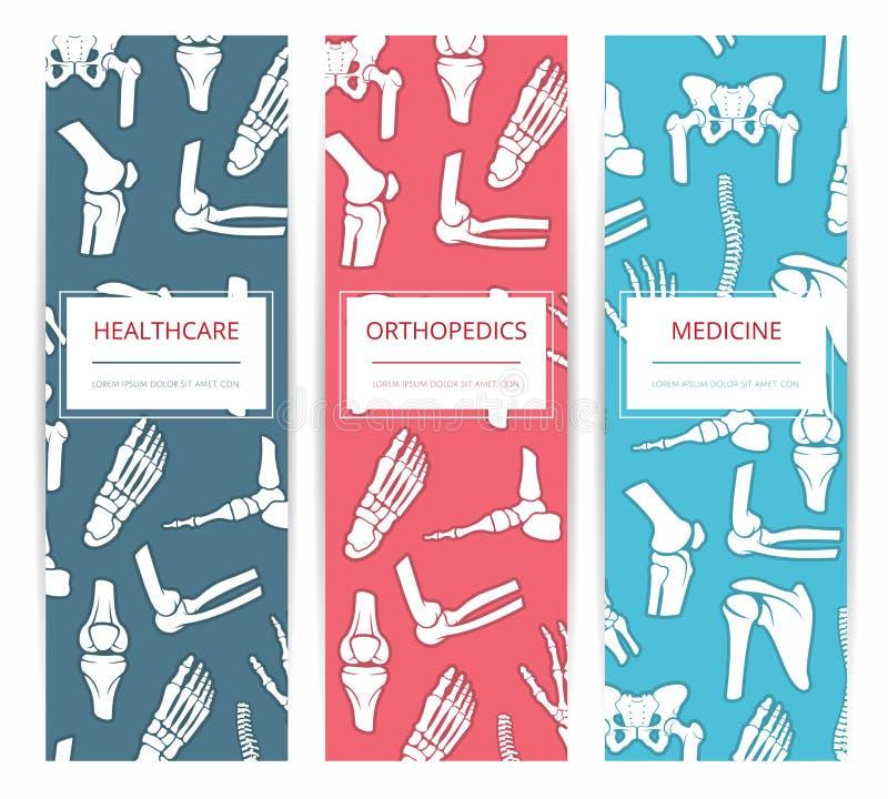 Medicin hälsovård, ortopedibanermall vektor illustrationer