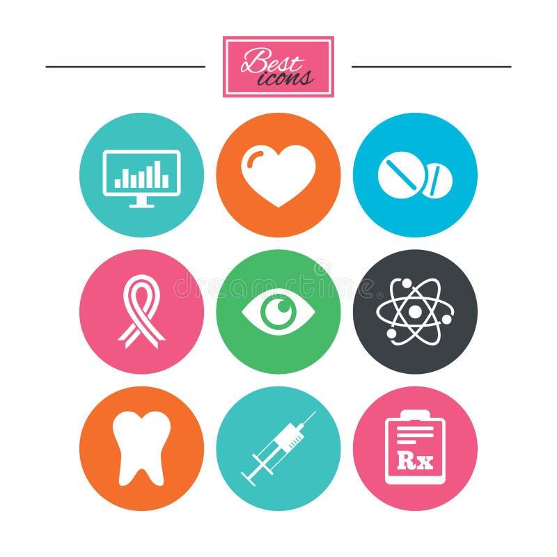 Medicin, medicinsk hälsa och diagnossymboler stock illustrationer