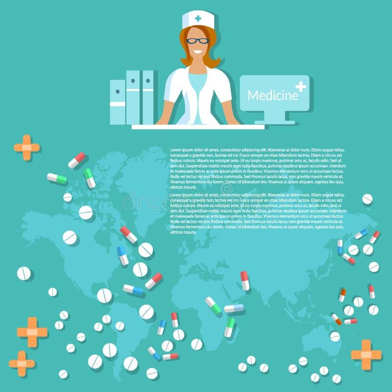 Medicin och läkemedel som ler medicinsk bakgrund för sjuksköterska vektor illustrationer
