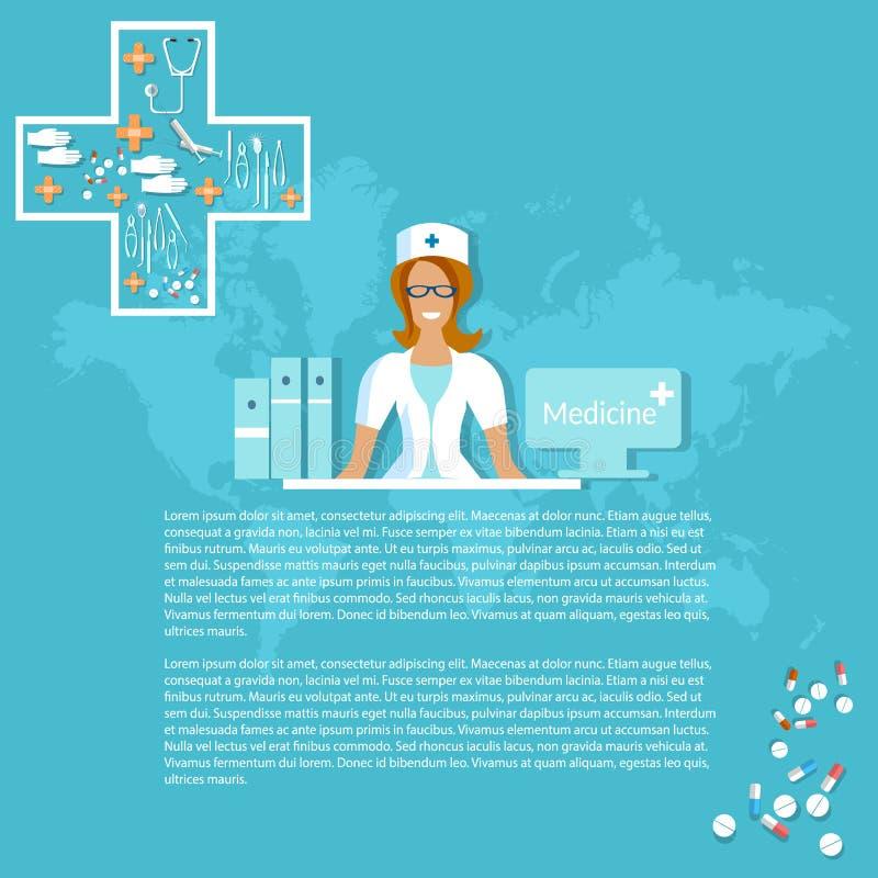 Medicin och läkemedel som ler sjuksköterskapreventivpillerdoktorer stock illustrationer