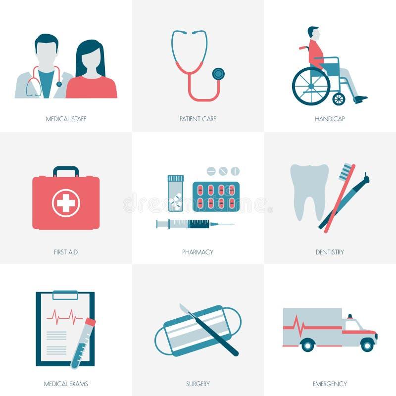 Medicin och sjukvård royaltyfri illustrationer