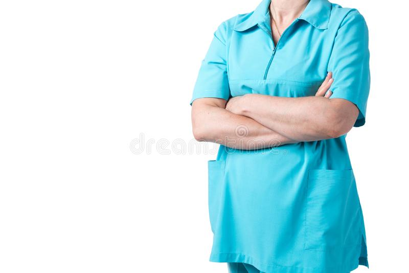Medicin- och sjukvårdbegrepp Doktor i kliniken, närbild fotografering för bildbyråer