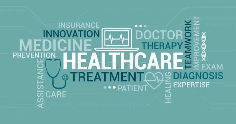 Medicin- och sjukvårdetikettsmoln vektor illustrationer