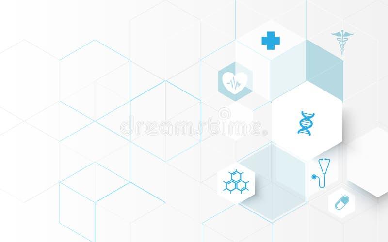 Medicin- och vetenskapssymboler Abstrakta digitala sexhörningar för hög tech på blå bakgrund stock illustrationer