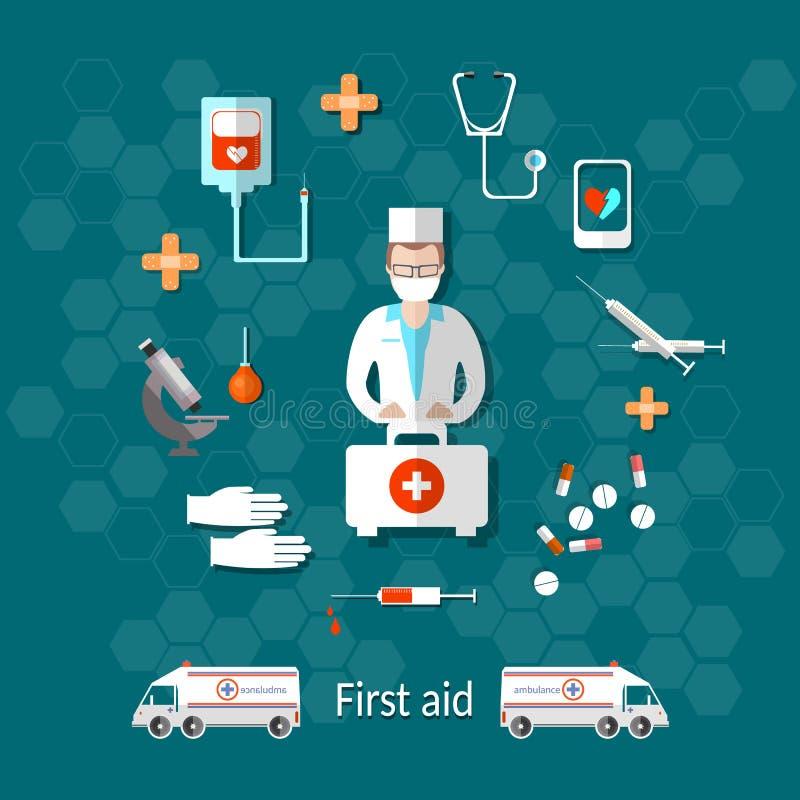 Medicina: ambulância, doutor, kit de primeiros socorros ilustração royalty free