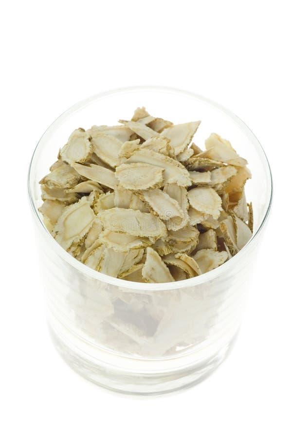 Medicina cinese tradizionale - ginseng affettato (ginseng del Panax) immagini stock libere da diritti