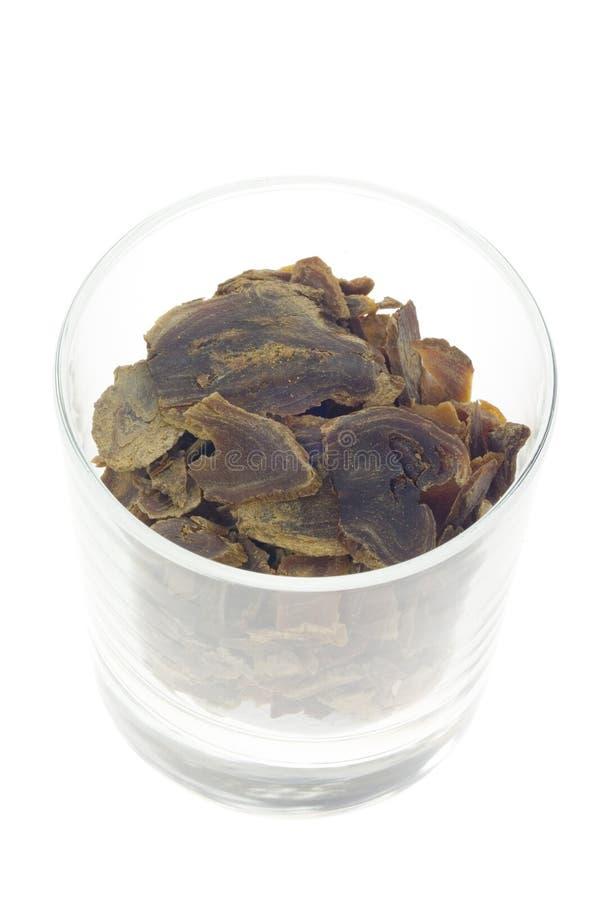 Medicina cinese tradizionale - ginseng rosso affettato (ginseng del Panax immagini stock libere da diritti