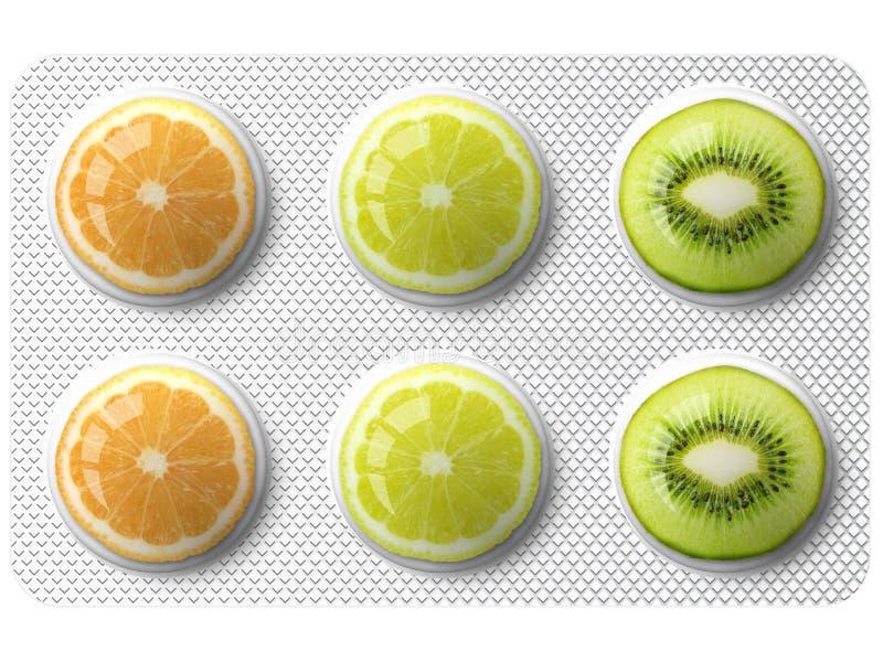 Medicina com frutas ilustração royalty free