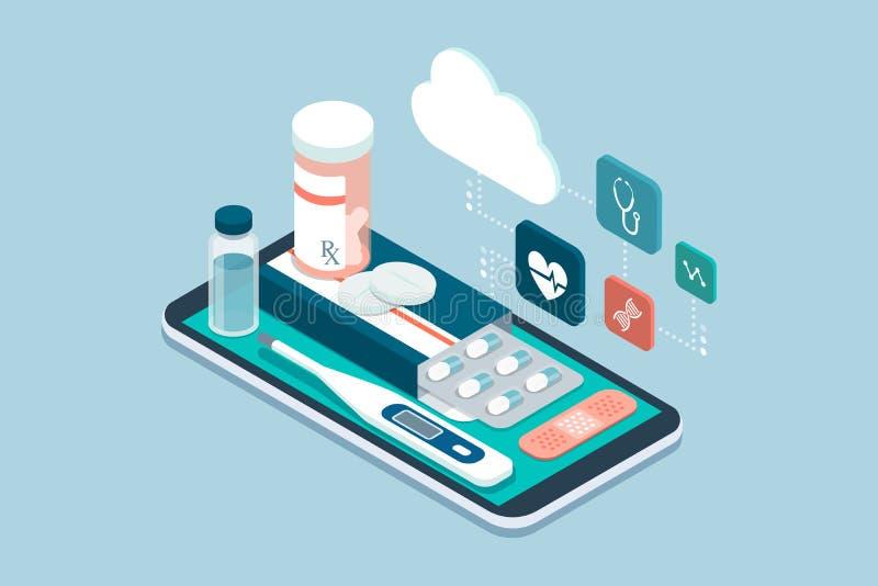 Medicina, cuidados médicos e terapia app ilustração stock