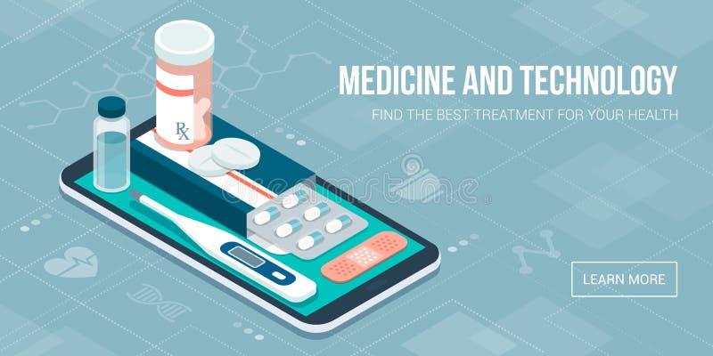 Medicina, cuidados médicos e terapia app ilustração royalty free
