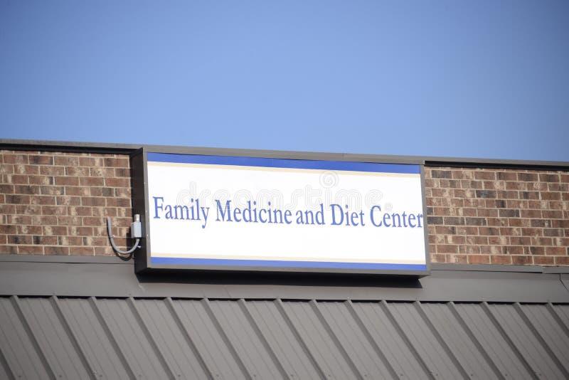 Medicina de familia y centro de la dieta imagen de archivo