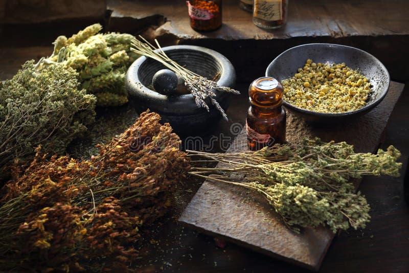 Medicina de Herbal del herborista y medicina natural Remedios herbarios tradicionales fotografía de archivo