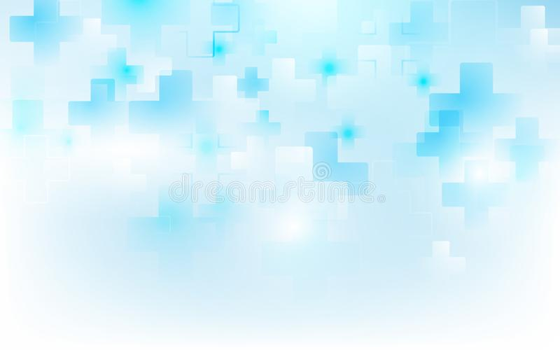 Medicina de la forma y concepto cruzados médicos abstractos de la ciencia en fondo azul suave stock de ilustración